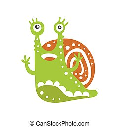 Cute snail character with its hands up, funny mollusk colorful hand drawn vector Illustration