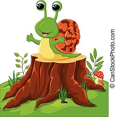 Cute snail isolated on tree stump