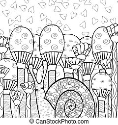 Cute snail in mushroom forest adult coloring book page.