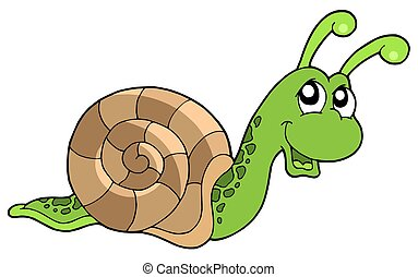 Cute snail on white background - isolated illustration.