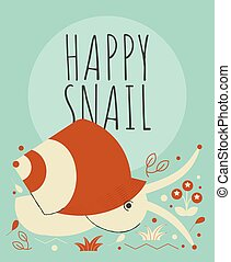Cute snail with flowers and plants greeting card