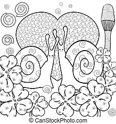 Cute snails adult coloring book page. Vector illustration.