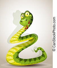 Cute snake bent in the form of a Christmas tree