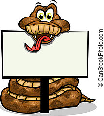 Cute Snake holding up sign. Separated into layers for easy editing.