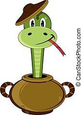 Cute Snake in Clay Pot - Cute Cartoon Snake in a Clay Pot ...