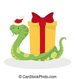 Cute snake in Santa hat celebrate christmas