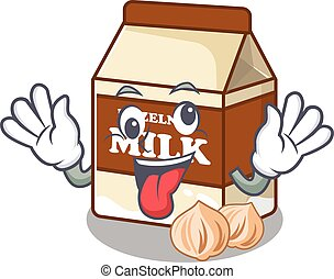 Cute sneaky hazelnut milk Cartoon character with a crazy face