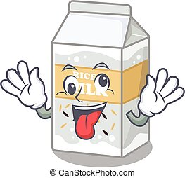 Cute sneaky Rice milk Cartoon character with a crazy face