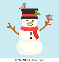 cute snowman and robin bird in flat design for xmas theme poster