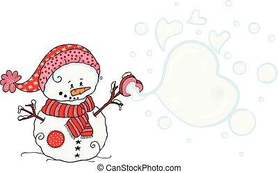 Cute snowman blowing soap bubbles