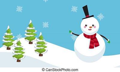 Cute snowman cartoon HD animation