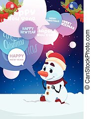 Cute Snowman Greeting With Merry Christmas And Happy New Year Holiday Card With Chat Bubbles Messages