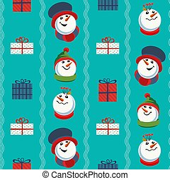 Cute snowman hand drawn vector seamless pattern