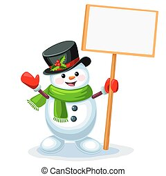 Cute snowman holding a blank sign board with space for message isolated on white background