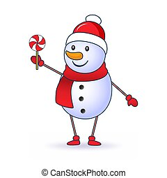 Cute Snowman holding a lollipop isolated on white background