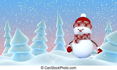 Cute Snowman in Red Cap Greeting with Hand and Smiling in Winter Forest Snowfall. Beautiful 3d Cartoon Animation. Animated Greeting Card. Merry Christmas Happy New Year Concept. 4k Ultra HD 3840x2160.