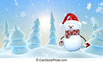 Cute Snowman in Red Santa Hat Greeting with Hands and Smiling in Sunny Snowfall. Beautiful 3d Cartoon Animation. Animated Greeting Card. Merry Christmas Happy New Year Concept. 4k Ultra HD 3840x2160