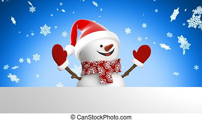 Cute Snowman in Santa Hat Greeting with Hand and Smiling Snowfall Background. Beautiful 3d Cartoon Animation Green Screen Alpha Mask. Animated Greeting Card. Christmas Concept. 4k Ultra HD 3840x2160