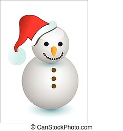 cute snowman on white background