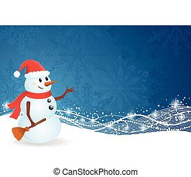 Cute snowman standing on a blue background with pattern and sparkles.