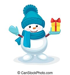 Cute snowman with a gift on his hand isolated on white background