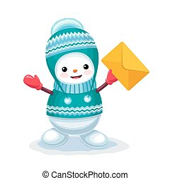 Cute snowman with a letter envelope on his hand isolated on white background