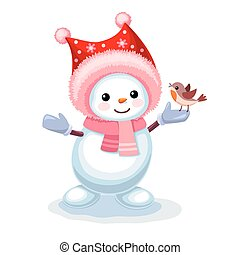 Cute snowman with a small bird on his hand isolated on white background