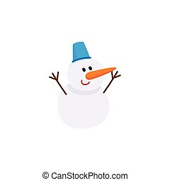 Cute, funny snowman with carrot nose and bucket hat, cartoon vector illustration isolated on white background. Cartoon style snowman - two snowballs, carrot nose and bucket hat
