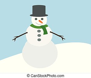 cute snowman with hat green scarf and hands from branch and carrot nose standing on snow hill cartoon simple vector