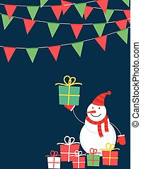 Cute snowman with presents
