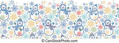 Cute snowmen horizontal seamless pattern background