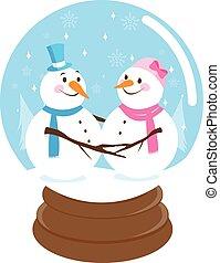 Cute snowmen inside a snowglobe - Vector Illustration of a...