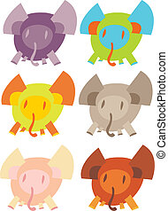 cute, sobre, branca, elefantes