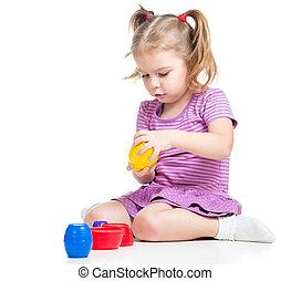 cute, sobre, criança, isolado, tocando, brinquedos, branca, menina
