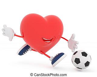 Cute soccer player heart on white - 3D render