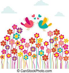 cute, social, pássaros, amor