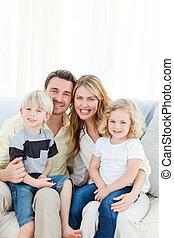 cute, sofá, família