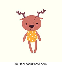Cute soft baby deer plush toy, stuffed cartoon animal vector Illustration