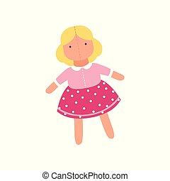 Cute soft doll toy, stuffed sewing toy cartoon animal vector...