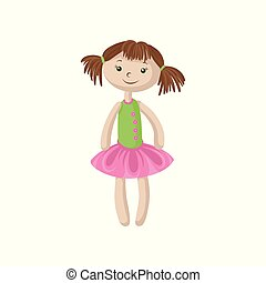 Cute soft doll with brown hair, sewing toy cartoon vector Illustration