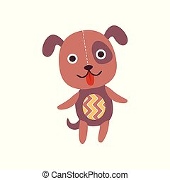 Cute soft puppy plush toy, stuffed cartoon dog vector Illustration