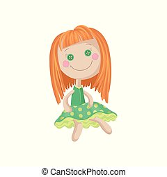 Cute soft redhead doll in a green dress, sewing toy cartoon vector Illustration