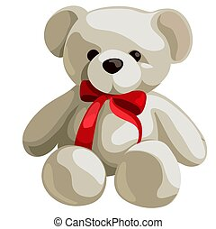 Cute soft teddy bear with red ribbon bow isolated on white background. Vector cartoon close-up illustration.