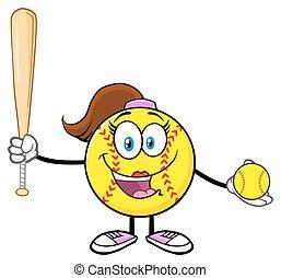 Cute Softball Girl Holding A Bat