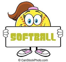 Cute Softball Girl Holding A Sign