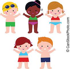 cute, sommer kids, ind, badedragt, sæt, isoleret, på hvide