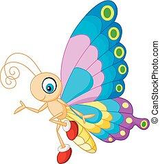cute, sommerfugl, cartoon, aflægger