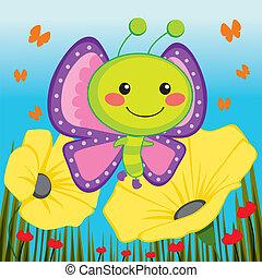 cute, sommerfugl