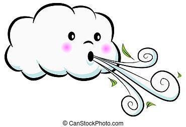 cute, soprando, nuvem, vento