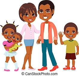 cute, sorrindo, americano, família, africano